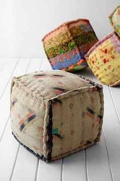 Poufs from Kantha cloth.