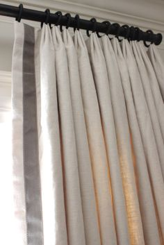 banded leading edge with pinch top pleated drapery/curtains Drapery Styles, Curtain Styles, Curtain Designs, Drapery Ideas, Pinch Pleat Curtains, Pleated Curtains, White Curtains, Linen Curtains, Curtain Headings