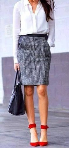 Herringbone pencil skirt, white blouse and red heels.