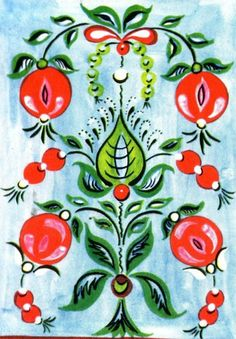 Folk Onega painting from Northern Russia. Floral pattern.