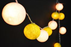 35 Lights  - White and  Green Yellow  2 color  Cotton Ball String Lights Fairy Lights Patio Lights Wedding Lights Decoration Lights by YooCotton on Etsy https://www.etsy.com/listing/231383050/35-lights-white-and-green-yellow-2-color