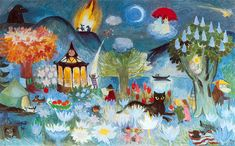 Tove ----- In 70 year old Tove Jansson painted her last monumental work for the Taikurin hattu (Hobgoblin's hat) kindergarten in Pori, Finland. Three-part mural presents Moominvalley in spring, summer and autumn. Tove Jansson, Moomin Valley, Hobgoblin, Illustrations And Posters, Children's Book Illustration, New Wall, Fairy Tales, Cool Art, Art Drawings