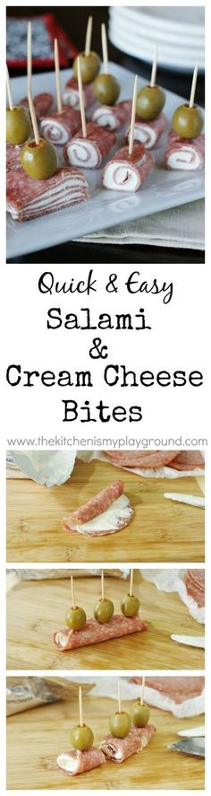 Quick and easy Salami & Cream Cheese Bites ~ a classic crowd-pleaser you can whip up in minutes. Looks nice! I like this img! #travel #easytravel