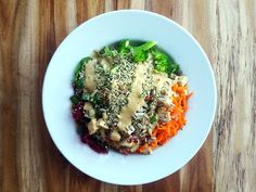This Buddha Bowl is packed with healthy veggies & drizzled with a delicious savoury miso sauce. It makes a perfect packed lunch or simple healthy dinner!