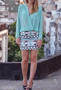 chiffon turquoise top with matching sequin bottoms