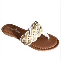 💔Last One 💔 HP:Gold and White Sparkle Flip Flops Pair these comfortable Flops with a sundress or some hot shorts. Be a summer trend setter Shoes Sandals