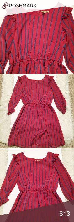Forever 21 Ruffle Long Sleeve Striped Dress In NWOT condition, so chic and cute! Bundle to get huge savings :) Forever 21 Dresses Midi