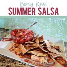 Berry Kiwi Summer Salsa Recipe Fruit Recipes, Appetizer Recipes, Snack Recipes, Cooking Recipes, Fruit Appetizers, Party Recipes, Dip Recipes, Cooking Ideas, Sauces