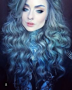 blue and grey/silver hair