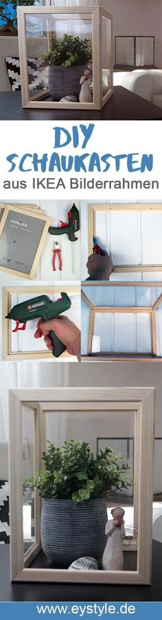 Diesen tollen IKEA Hack kannst du aus ein paar Bilderrahmen selber machen. Toller Schaukasten/ Deko und einfaches DIY Projekt.