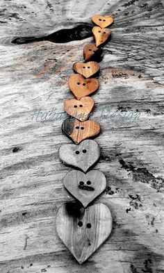 Handmade wooden heart buttons. Heart Button, Wooden Hearts, Handmade Wooden, Buttons