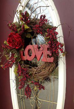 Valentines Day Wreath Door DecorLove by AnExtraordinaryGift ~❤ Inexpensive Valentines Day Ideas, Valentines Day Decorations, Valentine Day Wreaths, Valentines Day Hearts, Valentine Crafts, Valentine Day Gifts, Spring Decorations, Valentine Ideas, Willow Wreath