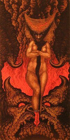 Nikolai Konstantin Kalmakoff The wife of Satan Evil Demons, Angels And Demons, Loki, Art Nouveau, Demonology, Weird Creatures, Silver Age, Popular Culture, Occult