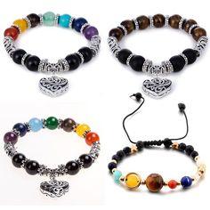 3cb1d32a3aa 8mm 7 Chakra Healing Balance Bracelet Lava Yoga Reiki Prayer Stones Jewelry.  8mm Chakra Healing