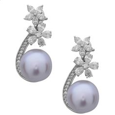 Stunning Floral South Sea Pearl Diamond Gold Dangle Earrings