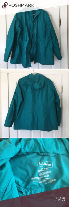 """L.L. Bean teal rain jacket size 1X L.L. Bean teal rain jacket size 1X. Nicer teal color than showing up in photos. Great like new condition.  🍥Bundle deals available (I carry various sizes and brands in my closet): 2 items 10% off, 3 items 15% off, 4 items or more 20% off.  🍥No trades, modeling, or lowball offers please. 🍥All reasonable offers accepted only through """"offer"""" button. Please submit offer willing to pay as I prefer to not counteroffer. 🍥I appreciate you all. Happy Poshing…"""