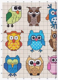 """Owls (1 of 2) -- free cross stitch pattern So Where is part """"2""""??? Damn the people who only pin part of a pattern. I've found several that are incomplete! And it makes me mad.cj"""