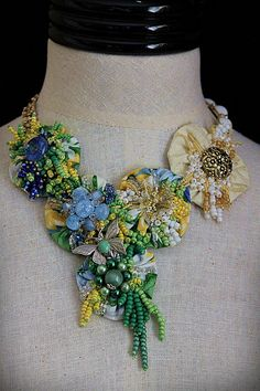 GARDEN PARTY Textile Beaded Mixed Media Bib by carlafoxdesign, $345.00