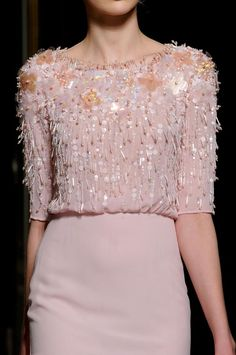 GEORGES HOBEIKA  Spring Couture 2013  Just look at that exquisite, delicate beading! My only question is: how does the dry cleaner clean this without losing beads?