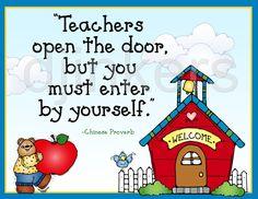teachers open the door, school quote, school sign, door poster