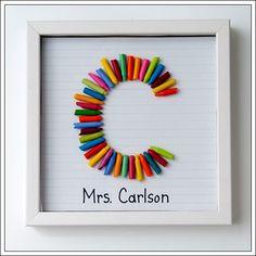 Proyecto para realizar un cuadro con lápices de colores (en este caso de ceras). Podemos utilizar este cuadro para colgar en el cuarto de un niño o para regalárselo a una maestra. Original a la par que sencillo.