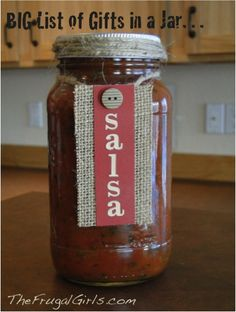 Gifts in a Jar - this salsa packaging is darling and would be perfect for gifting dad's homemade salsa!