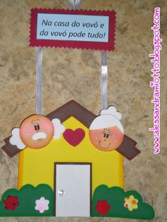 Criando e Recriando : Dia dos Avós - Lembrancinhas Mais Kids Crafts, Family Crafts, Diy And Crafts, Grandparents Day Crafts, Fathers Day Crafts, Art N Craft, Craft Work, Grandmother's Day, Family Drawing
