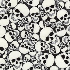 Wicked Glow-In-The-Dark Skulls Packed Skull Cotton Fabric