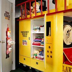 Kid Bedrooms tip Wonderful ideas to kick-start a classy cute kid bedrooms bookshelves Kid Bedrooms ideas shared on 20181216 Fire Truck Room, Fire Truck Nursery, Fireman Kids, Fireman Room, Firefighter Bedroom, Locker Storage, Truck Storage, Creative Kids Rooms, Bookshelves In Bedroom
