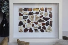 """Abstract in brown"""" collage in different shades and sizes of brown Irish sea glass and pottery Southern Ireland, Deep Box Frames, Artwork For Home, Irish Sea, Take You Home, Frame Sizes, Sea Glass, Handmade Items, My Etsy Shop"""