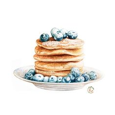 Fruit Drawing Watercolor Food Illustrations Ideas For 2019 Watercolor Food, Watercolor Illustration, Watercolor Paintings, Dessert Illustration, Watercolors, Pancake Drawing, Food Drawing, Pancake Art, Drawing Drawing