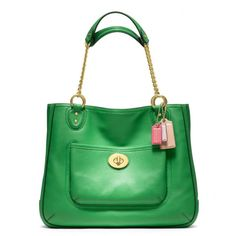 Coach Poppy Leather Medium Chain Tote In Green