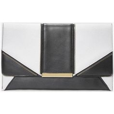 Boohoo Amber Metal Detail Panelled Clutch Bag | Boohoo ($20) ❤ liked on Polyvore featuring bags and black