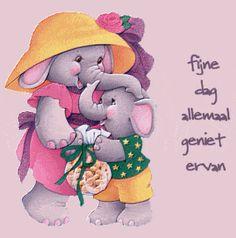 Fijne dag plaatjes, krabbels en animaties van Tekstplaatjes.US voor facebook, twitter en WhatsApp 5. Smurfs, Good Morning, Facebook, Twitter, Elephants, Owls, Fictional Characters, Candles, Quotes