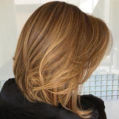 Layered Caramel Blonde Lob