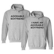 I Have An Adorable Boyfriend Matching 2-Pack Hooded Sweatshirt Set ------------------------ couple shirt, couple hoodie, matching hoodie, gift ideas, anniversary gift, girlfriend, boyfriend, relationship goals, couple goals