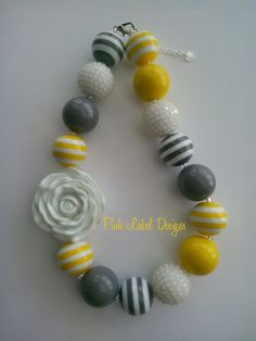 Yellow Gray & White Flower Chunky Bead Necklace by PinkLabelDesign, $20.00