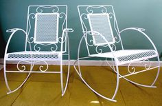 Vintage Mid Century Metal Rocking Chairs by thevintagesupplyco on Etsy