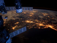 The cities that never sleep, as seen from the International Space Station. Beautiful.