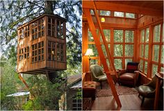 Tree House Point looking a little like Dr. Who's Tardis. By Pete and Judy Nelson.