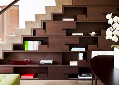 Living Room Living Room Design Ideas Small Spaces Staircase Shelves Design Ideas Interior Design Ideas For Home Beautiful Staircase… Staircase Bookshelf, Stair Shelves, Staircase Storage, Stair Storage, Modern Staircase, Staircase Design, Shelving, Bookshelf Ideas, Staircase Ideas