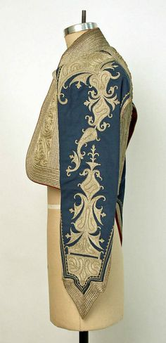 Albanian man's vest with hanging sleeves. Late 19th century. 'Goldwork' embroidery on a combed wool fabric ('worsted').