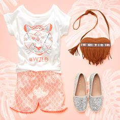 Girls' fashion | Kids' clothes | Embellished graphic top | Printed pom pom shorts | Fringe purse | Glitter sneakers | The Children's Place
