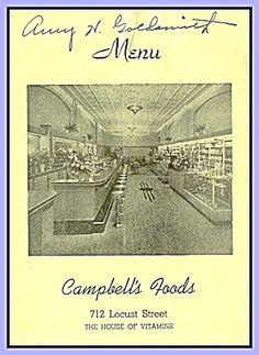 Campbell's Foods, Des Moines, Health Foods Menu 1950