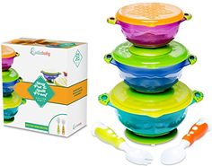 "STAY PUT SUCTION BABY BOWLS - Suction Toddler Spill Proof Feeding Set | Bonus Spoon and Fork | 3 Sizes of Bowls and Snap Tight Lids | Perfect To Go Storage | FDA Approved BPA Free - ""My son is a thrower. He loves dripping and throwing things off his high chair to see what happens. I've stopped giving him bowls and plates and put everything on the tray, but that leads to a big mess. These suction bowls have been a great discover for us!"" ""Boy do my wife and I love these bowls..."