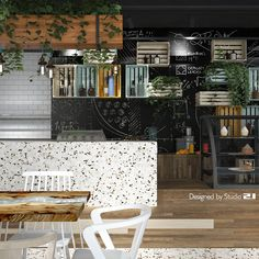 S Café – Bar design with green walls, curved wood, rough wood – Coffee shop design – Industrial Design Studio Rough Wood, Curved Wood, Coffee Shop Design, Green Walls, Cafe Bar, Industrial Design, Branding, Studio, Furniture
