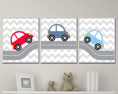 Baby Boy Nursery Wall Art Print Car Nursery Art by HopAndPop