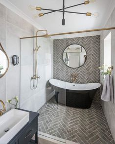 Modern Farmhouse, Rustic Modern, Classic, light and airy master bathroom design ideas. Bathroom makeover ideas and bathroom renovation tips. Wet Rooms, Bathroom Renos, Bathroom Renovations, Remodel Bathroom, Bathroom Accent Wall, Small Bathroom Tiles, Bathroom Makeovers, Bathroom Colors, Small Bathroom Showers