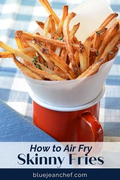 The Best shoe string french fry recipe is right here! Air Fry your french fries to make them with less fat and oil. Check out this version for great fries that you don't have to feel bad about eating! Super simple and super crispy!! #bluejeanchef #airfryer Deep Fried French Fries, Air Fryer French Fries, French Fries Recipe, Great Appetizers, Appetizer Recipes, Summer Recipes, Great Recipes, Actifry Recipes, Juicy Steak