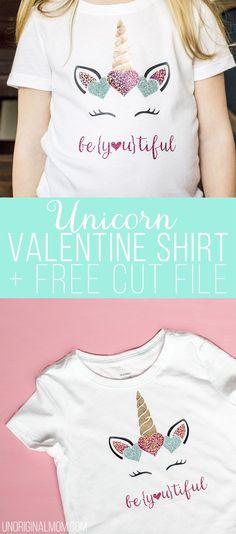 Girl's Unicorn Valentine's Shirt with SHIMMER heat transfer vinyl! This stuff is amazing! Such a cute design for a Valentine's Day Shirt. #htv #valentinesday #silhouette #cricut #glitterhtv #shimmerhtv #valentinesshirt #beyoutiful